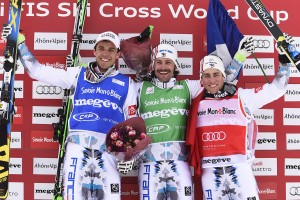 MEGEVE, FRANCE - MARCH 13: Bastien Midol , Sylvain Miailler , Jean Frederic Chapuis on the podium during the FIS Freestyle Skiing World Cup Ski Cross on March 13 2015 in Megeve, France. (Photo by Alain Grosclaude/Agence Zoom)